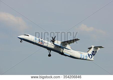 Amsterdam, The Netherlands  -  June 2nd, 2017:  G-kkev Flybe De Havilland Canada Dhc-8-402q Dash 8 T