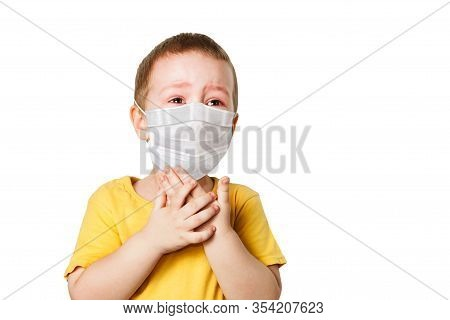 Worried Child Wearing A Protective Face Mask To Prevent Virus Infection Or Pollution On A White Isol