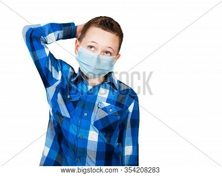 Portrait Of Thinking Boy, Wearing A Protective Face Mask Prevent Virus Infection, Pollution On White