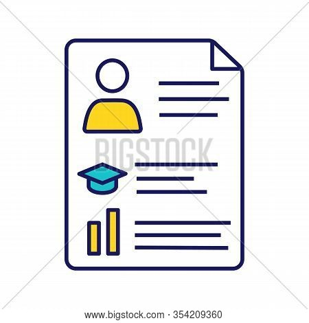 Resume Color Icon. Cv. Curriculum Vitae. Personal Information. Isolated Vector Illustration