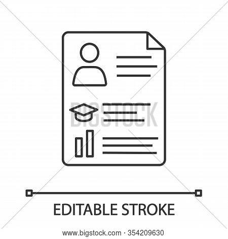 Resume Linear Icon. Cv. Thin Line Illustration. Curriculum Vitae. Personal Information. Contour Symb