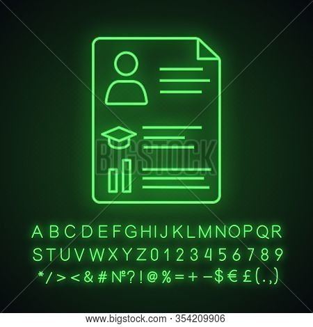 Resume Neon Light Icon. Cv. Curriculum Vitae. Personal Information. Glowing Sign With Alphabet, Numb