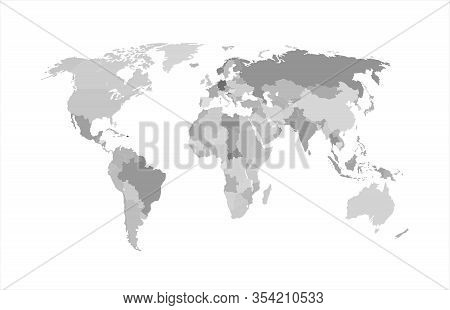 Vector Monochrome World Map, Atlas Background Isolated O White, Gray Map Template With Geographic Bo