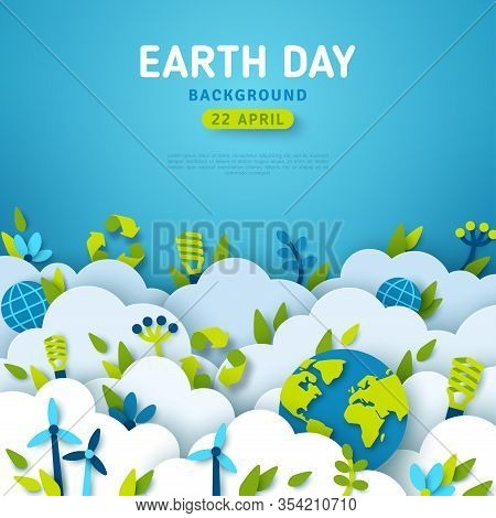 Earth Day Banner Or Card, Background With Clouds And Ecology Icons In Paper Cut Style. Vector Illust
