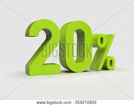 3d Render: 20% Percent Discount 3d Sign on Light Background, Special Offer 20% Discount Tag, Sale Up to 20 Percent Off, Twenty Percent Letters Sale Symbol, Special Offer Label, Sticker, Tag
