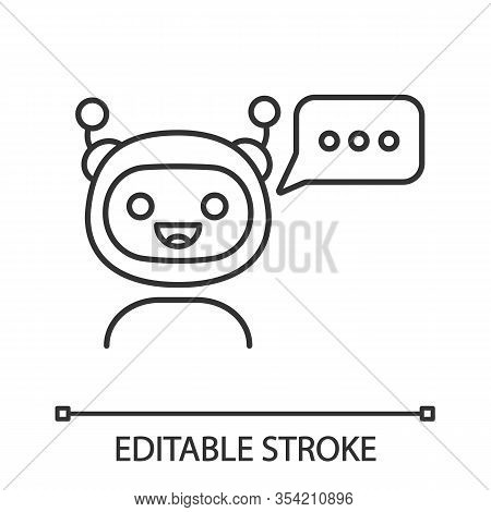 Chatbot With Three Dots In Speech Bubble Linear Icon. Thin Line Illustration. Modern Robot. Online V