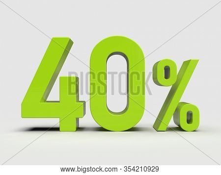 3d Render: Green 40% Percent Discount 3d Sign on Light Background, Special Offer 40% Discount Tag, Sale Up to 40 Percent Off, Forty Percent Letters Sale Symbol, Special Offer Label, Sticker, Tag