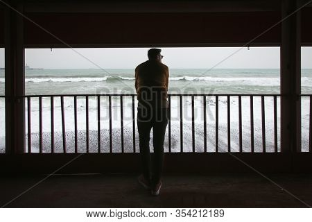 Rear view of an young man leaning on the railing in front of the beach