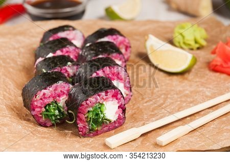 Pink Rolls With Cream Cheese And Chuka Seaweed