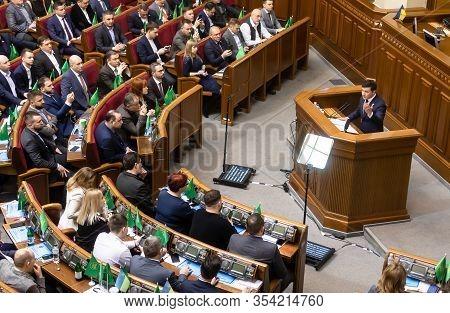 Kyiv, Ukraine - Mar. 04, 2020: President Of Ukraine Volodymyr Zelensky During The Session Of The Ver