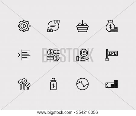 Trading Icons Set. Yield And Trading Icons With Invest Money, Execution And Trading Volume. Set Of S