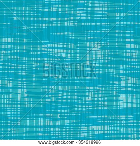 Cotton Fabric Style Seamless Vector Pattern Background. Aqua Blue Painterly Brush Stroke Texture. Ab