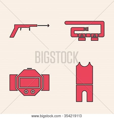 Set Wetsuit For Scuba Diving, Fishing Harpoon, Diving Belt And Diving Watch Icon. Vector