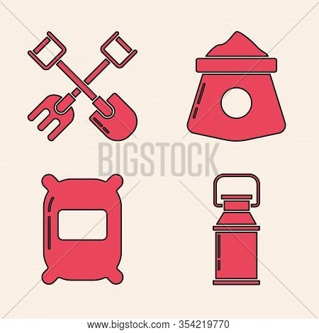 Set Can Container For Milk, Shovel And Rake, Bag Of Flour And Bag Of Flour Icon. Vector