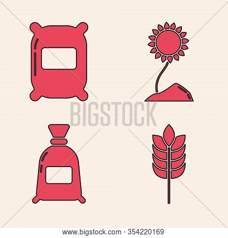 Set Cereals With Rice, Wheat, Corn, Oats, Rye, Bag Of Flour, Sunflower And Bag Of Flour Icon. Vector