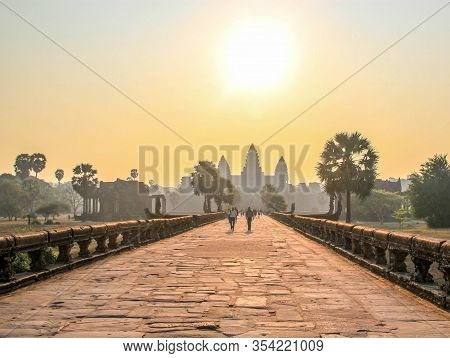 Famous And Touristic Cambodian Angkor Wat At Sunrise