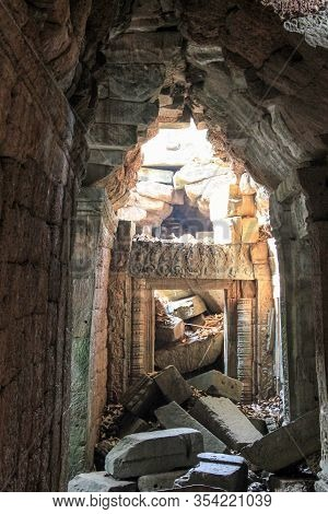 Ruins Of A Temple In The Jungle Near Angkor Wat, Siem Reap, Cambodia
