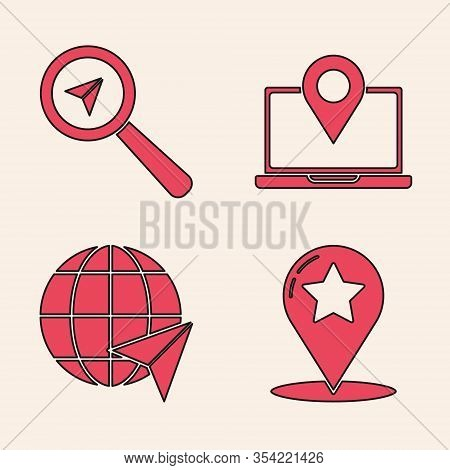 Set Map Pointer With Star, Search Location, Laptop With Location Marker And Location On The Globe Ic