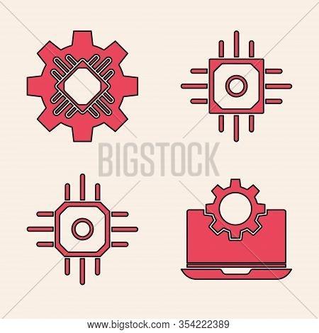 Set Laptop And Gear, Processor, Processor And Processor Icon. Vector