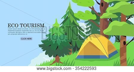 Vector Landscape Or Panorama Of A Camping Place In A Forest Or Park. Outdoor Adventure And Nature Ec