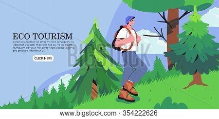 Man Camper Enjoys Walking Tour Through Forest Or Park. Woodland Landscape. Eco Tourism And Camping B