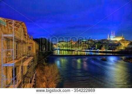 Kadan, Czech Republic - March 02, 2020: Night City Of Kadan By Ohre River