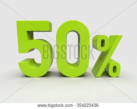 3d Render: Green 50% Percent Discount 3d Sign on Light Background, Special Offer 50% Discount Tag, Sale Up to 50 Percent Off, Fifty Percent Letters Sale Symbol, Special Offer Label, Sticker, Tag
