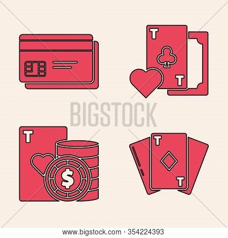 Set Playing Card With Diamonds, Credit Card, Playing Card With Clubs Symbol And Casino Chip And Play