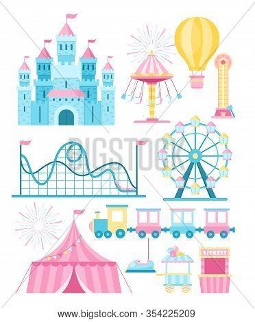 Vector Illustrations Set Of Amusement Park Attractions Flat. Cartoon Ferris Wheel, Roller Coaster An