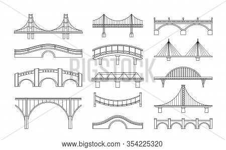 Vector Illustration Set Of Bridges Icons. Types Of Bridges. Linear Style Icon Collection Of Differen