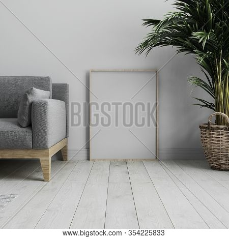 Blank Vertical Poster Frame Mock Up Standing On White Wooden Floor In Light Modern Minimalist Interi