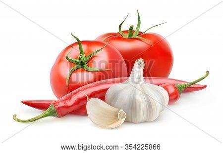 Isolated Vegetables. Fresh Tomatoes, Garlic And Chili Pepper (arabbiata Souce Ingredients) Isolated