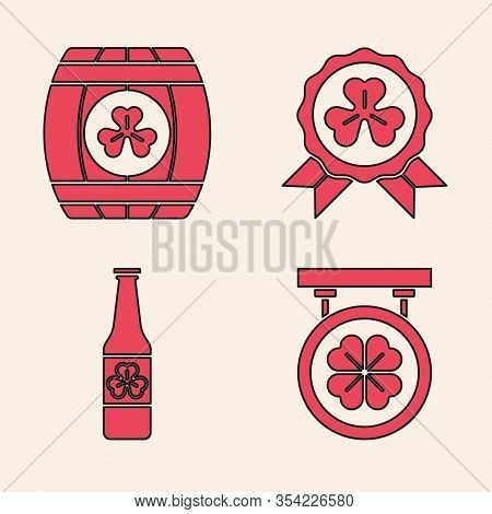 Set Street Signboard With Four Leaf Clover, Wooden Barrel With Four Leaf Clover, Medal With Four Lea