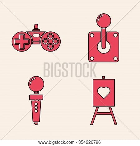 Set Wood Easel Or Painting Art Boards, Gamepad, Joystick For Arcade Machine And Joystick For Arcade