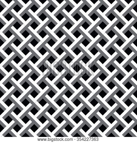 Weave Seamless Repeating Pattern Vector Illustration, Black, White And Grey Tones