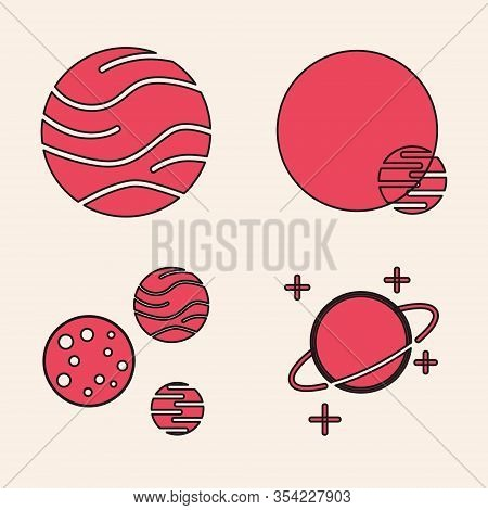 Set Planet, Planet, Planet And Planet Icon. Vector
