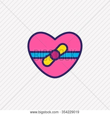 Vector Illustration Of Gift Icon Colored Line. Beautiful Amour Element Also Can Be Used As Heart Pre