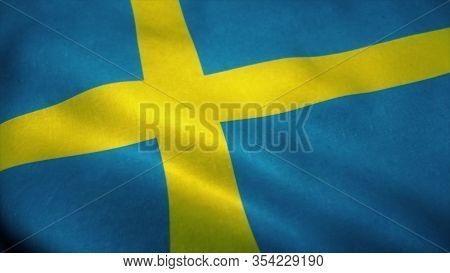 Sweden Flag Waving In The Wind. National Flag Of Sweden. Sign Of Sweden. 3d Illustration.