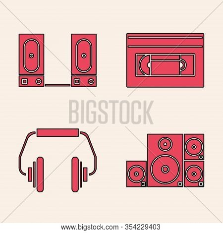 Set Stereo Speaker, Stereo Speaker, Vhs Video Cassette Tape And Headphones Icon. Vector