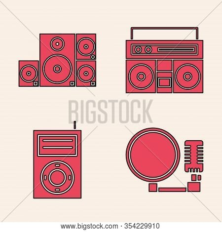 Set Microphone, Stereo Speaker, Home Stereo With Two Speakers And Music Mp3 Player Icon. Vector