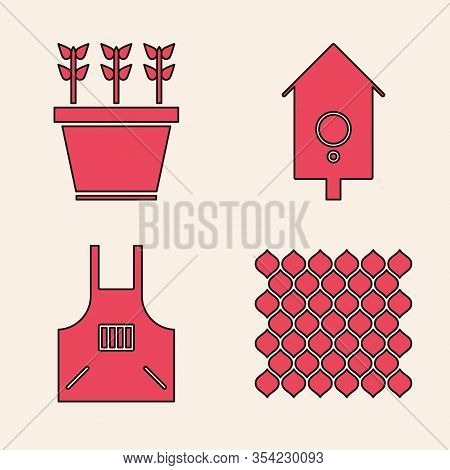 Set Garden Fence Wooden, Plants In Pot, Retro Wall Watch And Kitchen Apron Icon. Vector