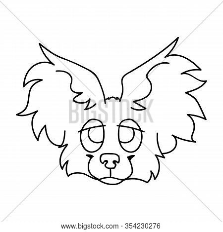 Cute Cartoon Papillon Puppy Dog Face Monochrome Lineart Vector Clipart. Pedigree Kennel Breed For Do