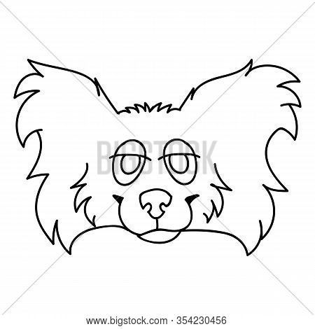 Cute Cartoon Papillon Dog Face Monochrome Lineart Vector Clipart. Pedigree Kennel Puppy Breed For Do