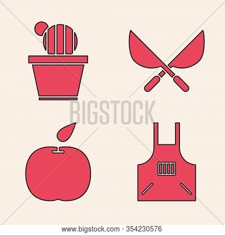 Set Kitchen Apron, Cactus And Succulent In Pot, Gardening Handmade Scissors And Apple Icon. Vector