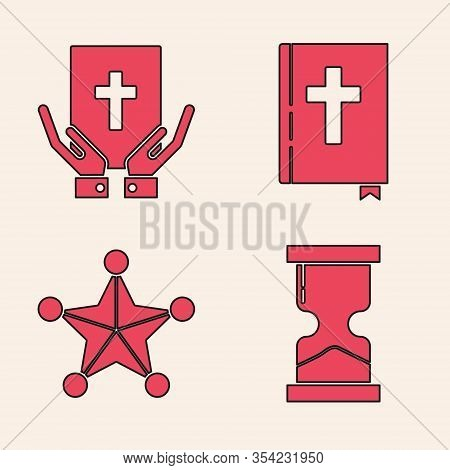 Set Old Hourglass, Oath On The Holy Bible, Holy Bible Book And Hexagram Sheriff Icon. Vector