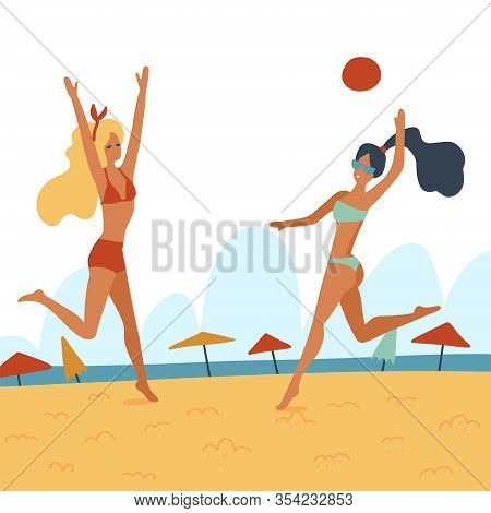 Two Young Women Playing Volleyball On The Beach. Flat Cartoon Vector Illustration. Friends Playing B