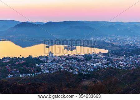 India, Sunrise Over Man Sagar Lake, Jaipur