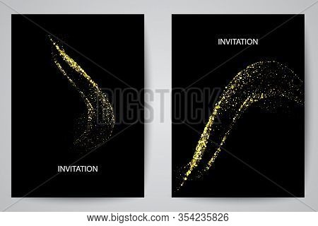 Abstract Waves Vector In Gold Colors. Abstract Swoosh Texture. Banner Background For Web Design.abst