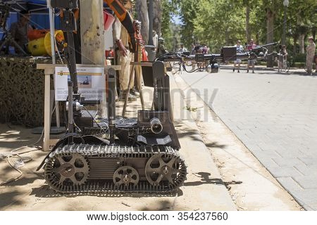 Seville; Spain - May 31st, 2019: Talon Tracked Military Robot. Equipment Exhibition On The Occasion