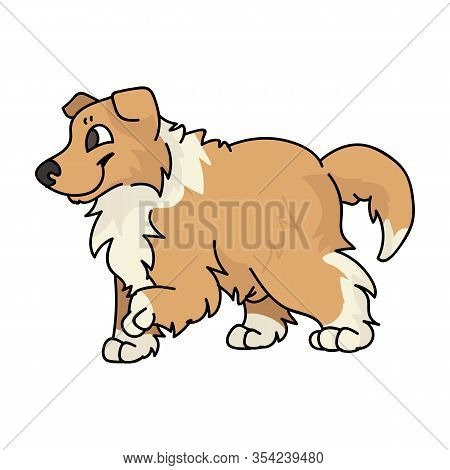Cute Cartoon Rough Collie Puppy Dog Vector Clipart. Pedigree Kennel Sheepdog For Dog Lovers. Purebre